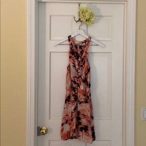 Parker Pink Silk Palm Tree Mini Dress